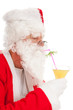 Portrait Santa Claus with tropical drink