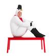 Human snowman sitting on bench