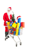 Santa Claus walking with shopping cart