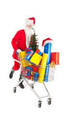 Santa Claus running with shopping cart