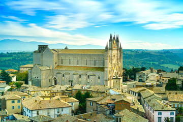 Orvieto medieval Duomo cathedral church aerial view. Italy