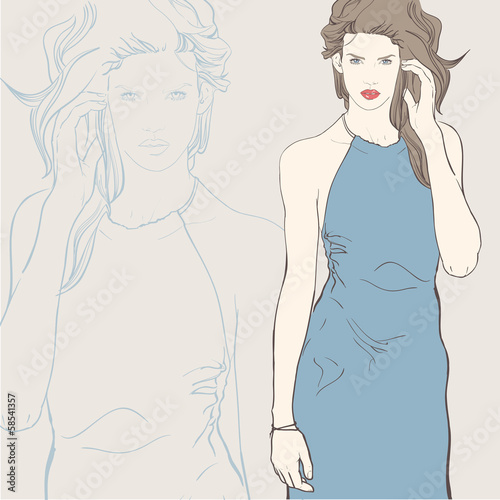 Fashion woman in blue dress. Vector illustration