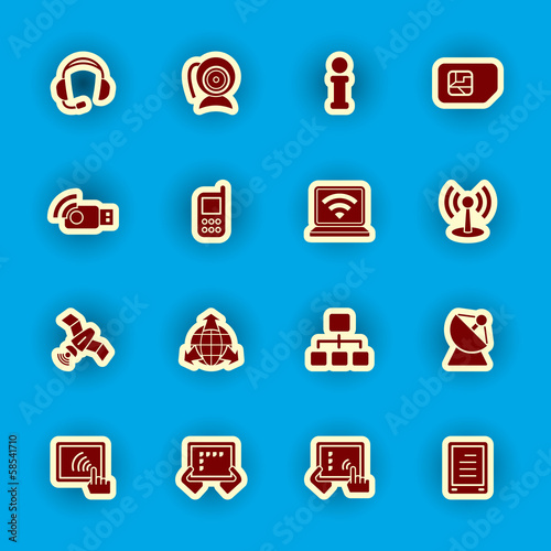 vector computer and communication icon set