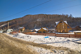 Group of houses. Listvyanka settlement, Lake Baikal, Russia.