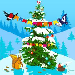 Christmas tree and animals.
