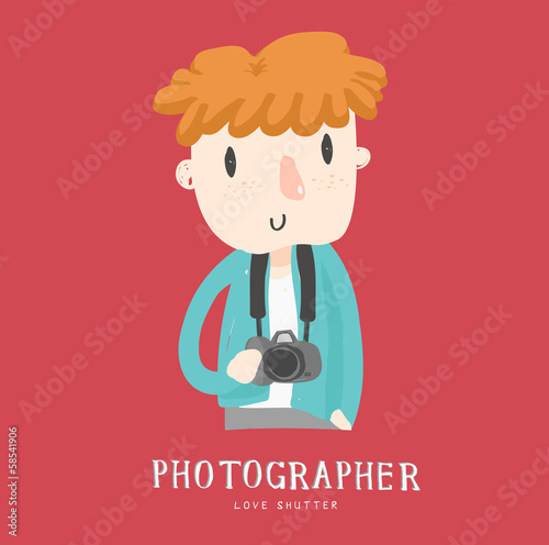 photographer boy character vector