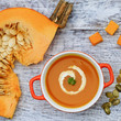 Pumpkin soup, traditional seasonal pumpkin soup