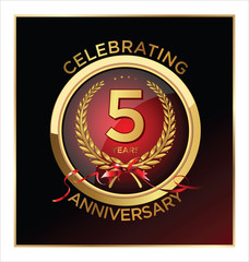5 years anniversary label