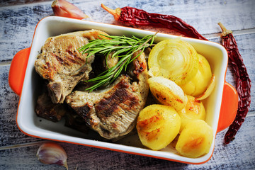 Lamb Chops - grilled lamb chops, grilled potatoes