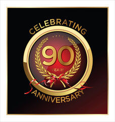 90 years anniversary label