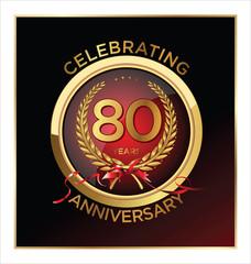 80 years anniversary label