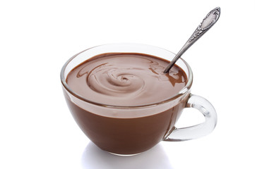 Cup of hot chocolate on a white background with reflection