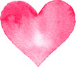 Watercolor painted pink heart