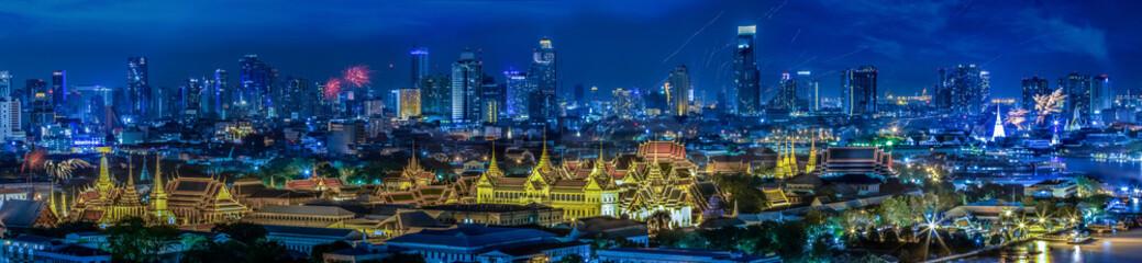 Grand palace at twilight in Bangkok between Loykratong festival
