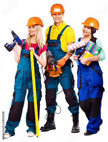 Group people builder  with construction tools.