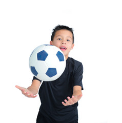 Boy Bouncing Football with Hands