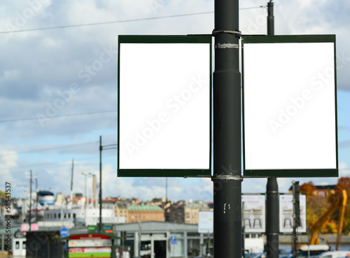 Pair of two empty street billboards