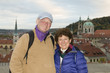 middle age senior smiling man woman tourist couple Castle Distri
