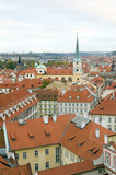 rooftops of Prague, Czech Republic over Vltava River  Castle sid