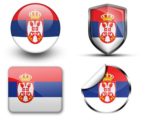 Serbia flag button sticker and badge