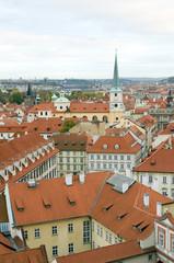 rooftops of Prague, Czech Republic over Vltava River  Castle sid