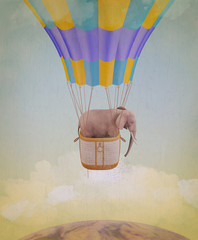 Elephant flying in a balloon. Illustration