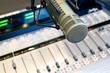Leinwanddruck Bild - Radio Station Microphone and Mixer