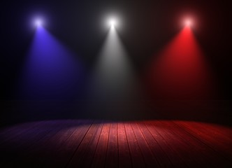 Illustration of multicolored spotlights on a wood stage