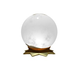 3D Crystal Ball on White Background