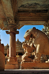 Apsara worshipping lion, Khajuraho, India, UNESCO heritage site