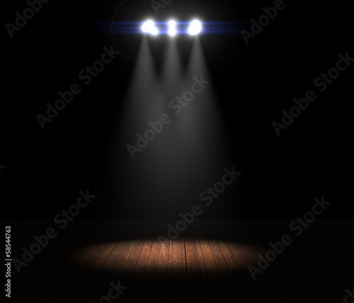 Illustration of a Ring of Stage Lights Shining Down On Stage