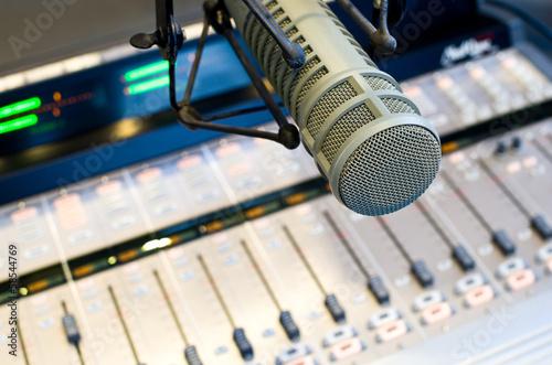 Leinwanddruck Bild Radio Station Microphone and Mixer