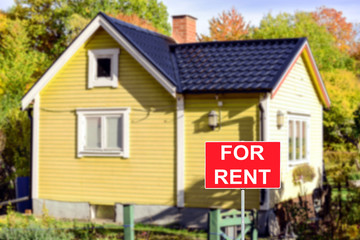 Real estate concept - House RENT or LEASE