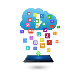 Cloud computing concept with colorful application icon