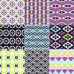 seamless abstract geometric and floral pattern