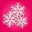 White Paper Snowflake on Pink Background