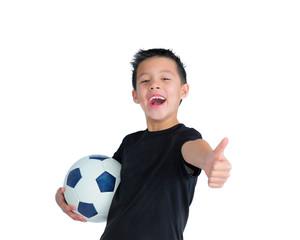 Happy Boy Holding a Football