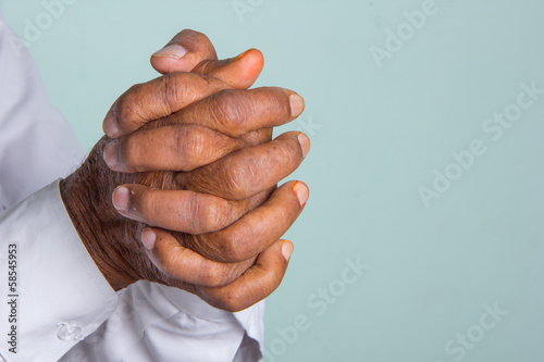 Indian Old Man In Prayer