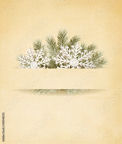 Christmas retro background with tree branches and snowflakeы. V