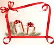 Christmas holiday background with gift ribbon with gift box Vect