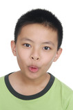 little boy on a over white background