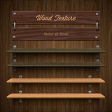 Blank wooden bookshelf, vector Eps10 image.