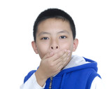 boy keeping silence by covering his mouth by hands