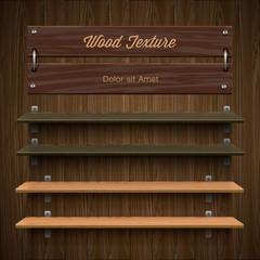Blank wooden bookshelf, vector Eps10 image.
