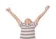 Portrait of joyful boy raising his arms