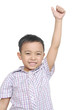 cheerful smiling little boy raised his hands up.