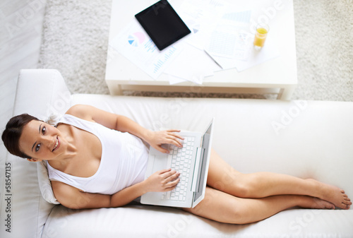 Girl working with laptop