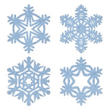 Blue frosty decorative snowflakes set