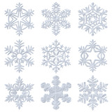 Blue snowy decorative snowflakes set