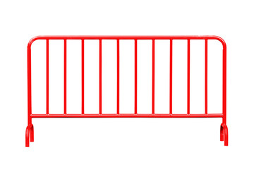 Red steel barrier isolated